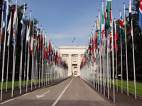 Flags in front of the Palais des Nations in Genève, Zwitserland